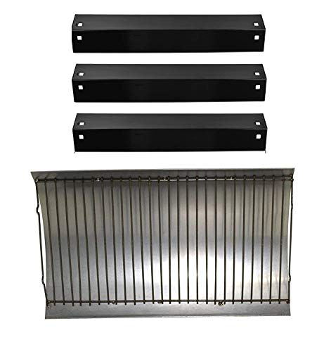BBQration 1-Pack Aluminized Ash Pan with Steel Wire Grate(12.8125 x 20.375 inches) & 3-Pack Porcelain Steel Heat Plate(18 15/16 x 3 7/8 inches), Replacement for Chargriller 5050, 5072, 5650