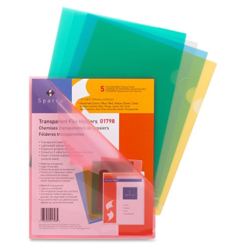 Sparco Transparent File Holders, Water Resistant, 11 x 8-1/2 Inches, 5 per Pack, AST (SPR01798)