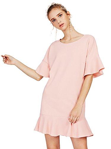 Romwe Women's Scoop Neck Ruffle Drop Waist Mini Short Dress Pink XL (Scoop Neck Drop Waist Dress)
