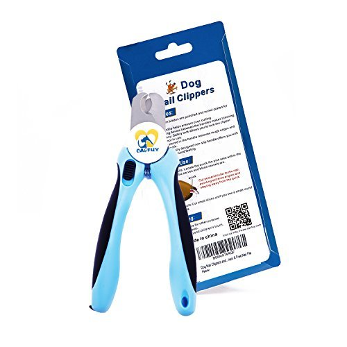 Casfuy Dog Nail Clippers and Trimmer with Safety Guard, Free Nail File, Razor Sharp Blades, Sturdy Non Slip Handles, Buit-in Handle Lock for Small, Medium and Large Breeds