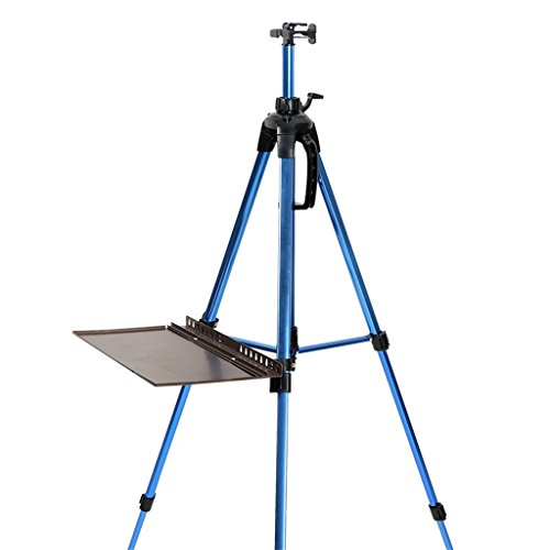 Easel Royal@ Five Colors Optional Large Metal Tray Hand Stretching Folding Aluminum Sketch Drawing Board Rack (Color : Blue)