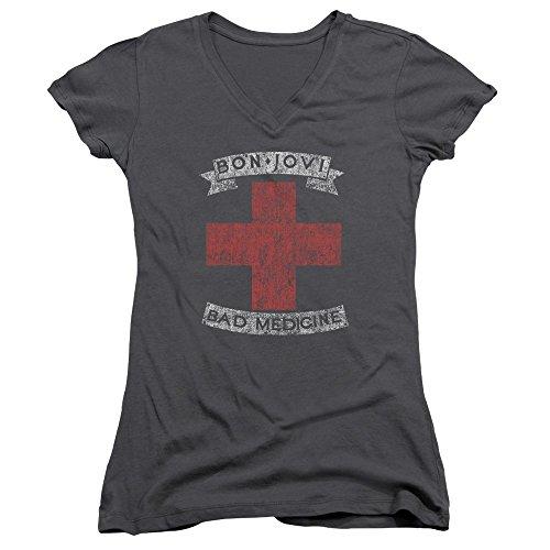 Bon Jovi - Bad Medicine - Juniors V-Neck Cap Sleeve T-Shirt - XL