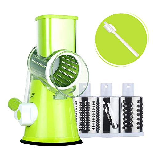 Rotary Cheese Grater Round Mandoline Slicer with 3 Interchangeable Blades, Manual Vegetable Food Shredder with Strong Suction Base by Valuetools (E-book recipe) (Manual Food Slicer)