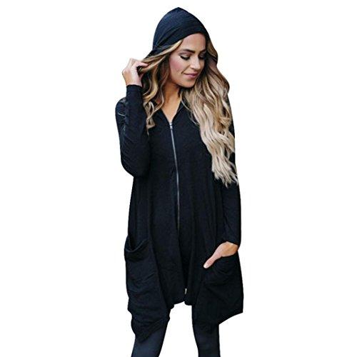 Cool Hooded Long Sleeve (FAPIZI ♥ Women Coat ♥ Cool Women Long Sleeve Outwear Hooded Coa S-XXXL (XXL, Black))