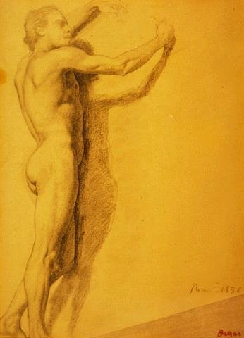 Wallmonkeys Study of a Male Nude by Edgar Degas Peel and Stick Wall Decals WM90743 (48 in H x 35 in W)