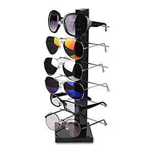 Fashion Design 6 Pair Sunglasses Eye Glasses Frame Rack Eyewear Counter Holder Display Stand Display Holder (Black)