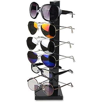 67ac3d405 Fashion Design 6 Pair Sunglasses Eye Glasses Frame Rack Eyewear Counter  Holder Display Stand Display Holder (Black)