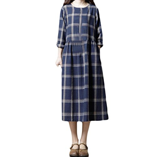 Shybuy Women's Casual Classic Check Loose Midi Dress Vintage Long Sleeve Cotton Tunic Dress (Dark Blue, XL) by Shybuy Women Dress