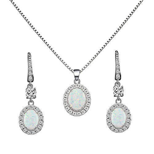 - Lavencious 925 Sterling Silver Necklace and Earrings Sets with Oval White Opal/Clear Cubic Zirconia CZ Stones and Italian Box Chain for Women (White)