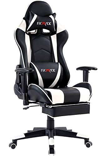Ficmax Massage Gaming Chair Reclining Racing Office Chair Ergonomic Gamer Chair with Footrest High Back Computer Chair Height Adjustable Video Game Chairs with Headrest and Lumbar Support(Black/White)