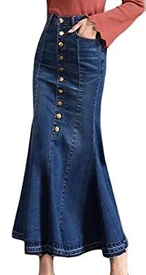 Fulok Women's Classic Elastic Single Breasted Denim Mermaid Skirts