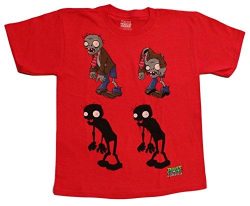 Plants vs Zombies Boys' 4 Zombie Tee, Red (XL(18))