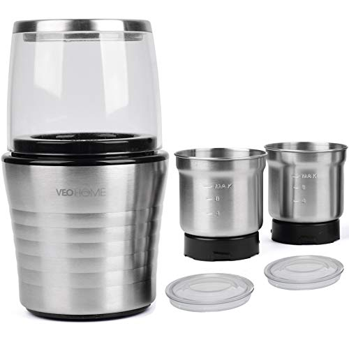 Multipurpose Electric Coffee Bean Grinder with 2 Removable Cups – Premium Stainless Steel Mill Grinding Tool for Seeds…