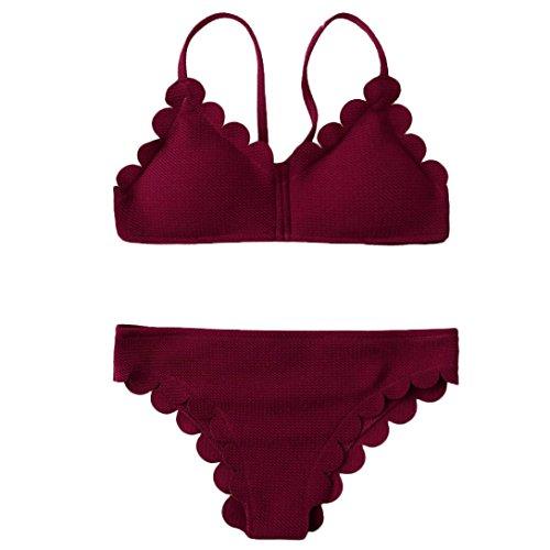 Swimwear Set Women,Rian Women Manual Push-Up Tankini Padded Bra Beach Halter Bikini Set Low Waist Swimsuit (Slide Bra Bikini Top)