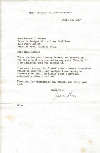Jean Kerr Signed 1967 Typed Letter