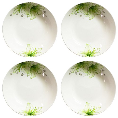 BandTie 4-Pack 4-Inch Small Size Round Plate Kitchen Dishes Chinese Jingdezhen Bone China Soy Sauce Dessert Plates Dish Fashion Creative Ceramics Tea Coffee Cup Saucer ,Green