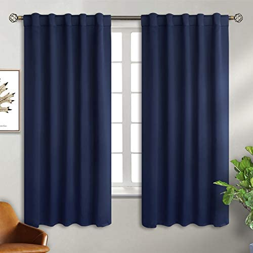 Bgment Rod Pocket And Back Tab Blackout Curtains For Bedroom Thermal Insulated Room Darkening Curtains For Living Room 2 Window Curtain Panels 42 X 63 Inch Navy Blue Kitchen Dining