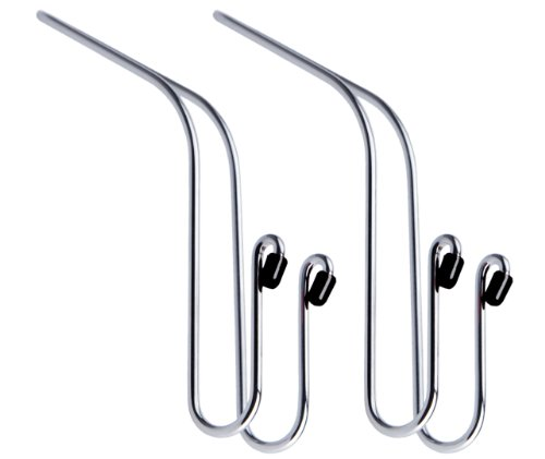Maxsa 20057 Metal Headrest Hanger 2 Hooks for Bags, Purses and Car Storage (2-Pack), Chrome