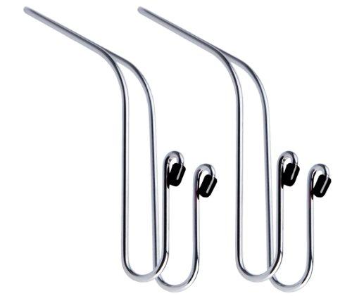 MAXSA Mini Hanger Multi-Purpose Hooks for Car (2-Pack), Holds Groceries, Handbags, & Coats, Durable Metal, Chrome 20057