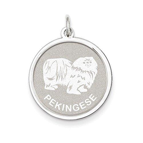 Pekingese Disc Charm (Sterling Silver Pekingese Disc Charm)