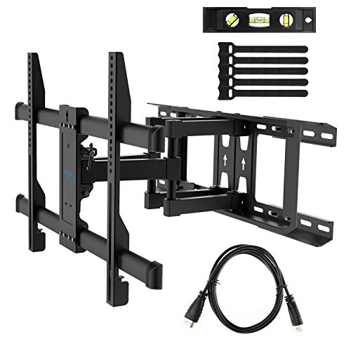 "otion Fits 16"", 18"", 24"" Wood Studs, Articulating Swivel TV Mount for Most 37-70 Inch LED, LCD, OLED, Flat Screen, Plasma TVs up to 132lbs, VESA 600x400mm by PERLESMITH ()"