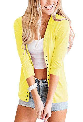 (PAPOSON Women's Snap Front 3/4 Sleeve Cardigan Soft Cotton V-Neck Button Down Sweaters Knitwear (Yellow,M))