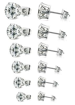 FIBO STEEL Stainless Steel Womens Stud Earrings Cubic Zirconia Inlaid,3mm-8mm 6 Pairs