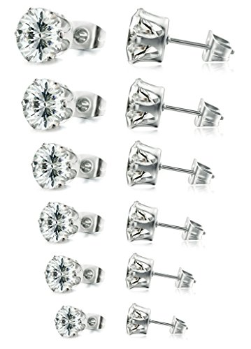 FIBO STEEL Stainless Steel Womens Stud Earrings Cubic Zirconia Inlaid,3mm-8mm 6 - Earrings