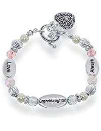 "Silvertone 6"" 'Love, Granddaughter, Always' Heart Toggle Pink & Blue Beads Stretch Children's Bracelet"