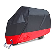 Aoafun & 190T coated silver polyester cloth Waterproof Motorcycle Cover, 2 stainless steel Lock-holes Design, 2 Air Vents, All Weather Protection, Anti-theft, Durable & Tear Proof(XXL,Black& Red)