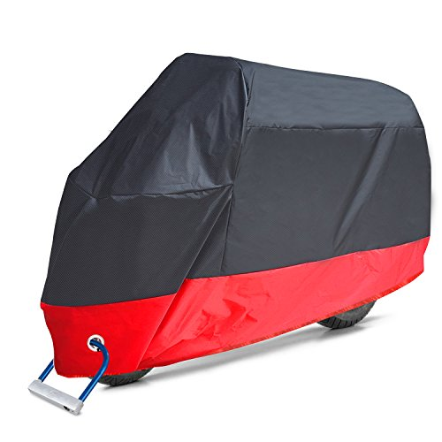 Aoafun Motorcycle Cover, All Season Waterproof Outdoor Protection,2 stainless steel Lock-holes Design, Fits up to 108