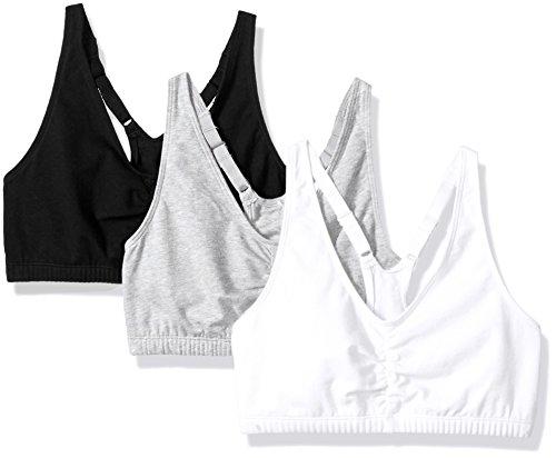 Fruit of the Loom Women's Adjustable Shirred Front Racerback Bra (Pack of 3) Bra, Heather Grey/White/Black hue, 46