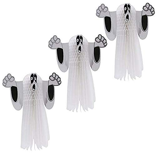 Kicpot Halloween Decoration 3D Hanging Ghost Props,3 Pack Scary Ghost Skeleton Flying Ghost Props Indoors and Outdoors- Suitable for Halloween Party Ghost House Vampire and Other Party Decorations]()