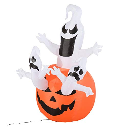 MRT SUPPLY 6' Outdoor Airblown Inflatable Halloween Decoration - Jack-O-Lantern Pumpkin with Ghosts with Ebook -
