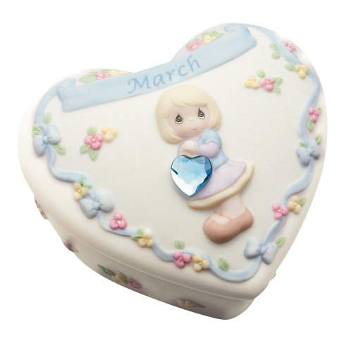 Precious Moments Birthday Heart Covered Box - March