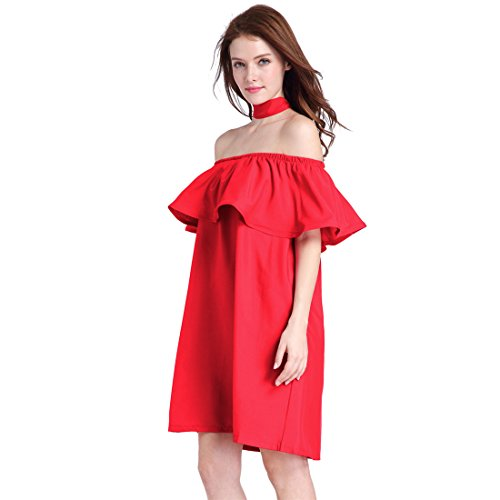Leaf Women's Off Evening Pretty Casual Shoulder Dunland Beach Maxi Dress Red Lotus pdqtfx