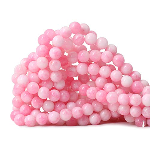 Qiwan 45PCS 8mm Dreamy Pink Chalcedony Round Stone Loose Beads for Jewelry Making DIY Bracelet Necklace 1 Strand 15