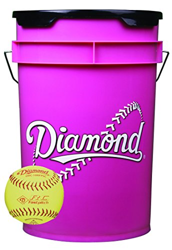 - Diamond 6-Gallon Pink Ball Bucket with 18 DRC-10RFPSC 10-inch Yellow Softballs
