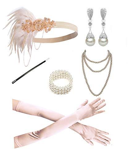 1920s Accessories Headband Necklace Gloves Cigarette Holder Flapper Costume Accessories Set for Women(2b)]()