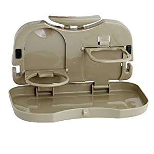 Car Brown Plastic Folding Food Meal Mini Table Tray Drink Cup Holder