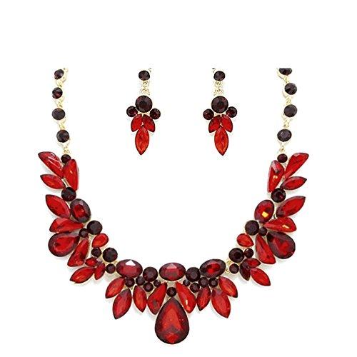 Glamour magnifique ensemble Parure Collier et boucles d'oreilles Bijou de mariage Abi Tons cristal rouge