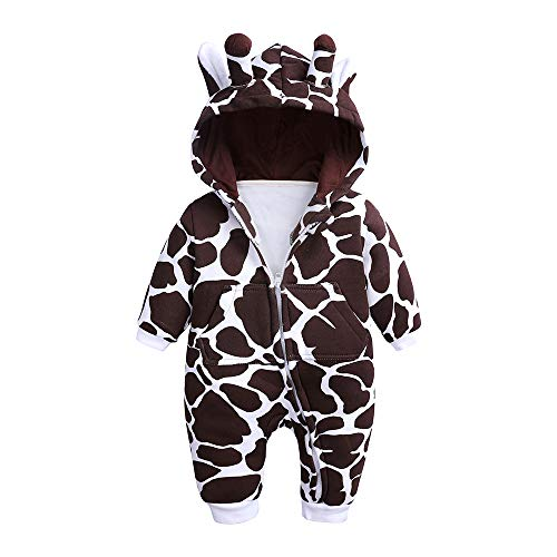 Kids Tales Baby Boys Girls 3D Giraffe Hooded Romper Infant Warm Onesies Costume ()