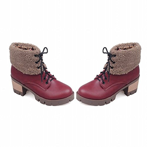 Latasa Mujeres Faux Leather Lace Up Chunky Heels Botas De Tobillo Oxford Dark Red