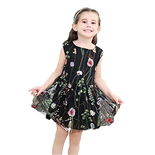 Forthery Toddler Girls Tutu Dress Floral Embroidered Princess Dress Mesh Pageant Party Dress (3-4Years, Black) - Embroidered Bodice A-line Satin