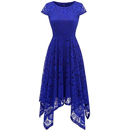 URIBAKE ♥️ Women's Vintage Lace Cocktail Dress Solid Boat Neck Irregular Hem Spring Country Rock Mini Dress Blue