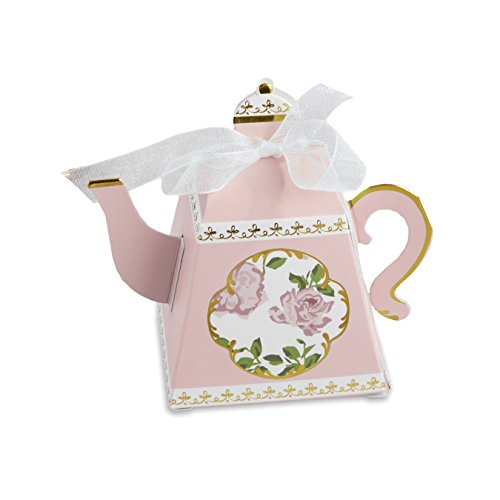 Kate Aspen, Tea Time Whimsy Collection, Teapot Tea Party Favor Box (Set of 24), One Size, Pink (Box Pot)