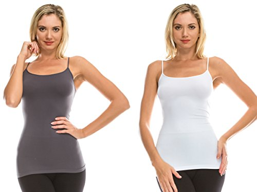 Kurve American Made Basic Seamless Cami, UV Protective Fabric UPF 50+ (Made with Love in The USA) White-Charcoal