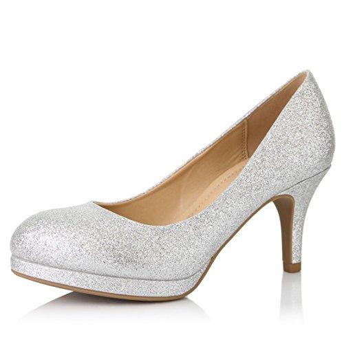 DailyShoes Women's Classic Ankle Strap Platform Low Heels Round Toe Party Dress Pumps Shoes, Silver Glitter, 10 B(M) US