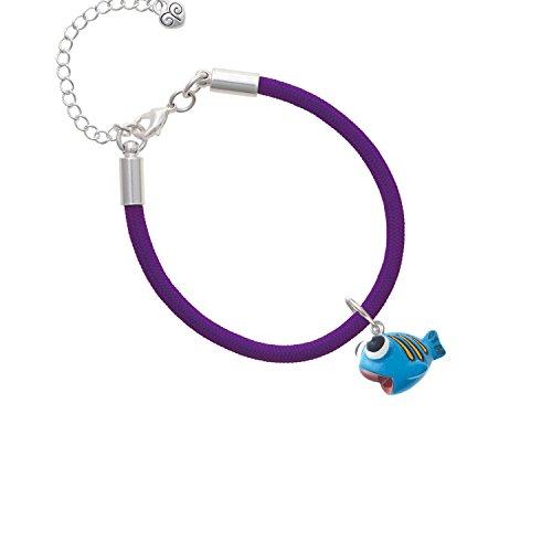Resin Blue Fish with Orange Stripes Purple Malibu Paracord Bracelet Purple Resin Stripes