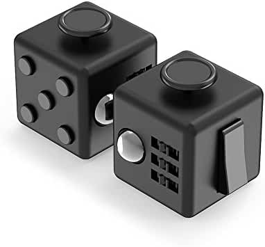 Maxboost Fidget Cube 6 Sides Relieves Stress Ball [2-Pack, Black] Anti-anxiety and Depression Cube Toy for Children, Students, and Adults - Great for Work, Class and Home Easy Carrying (MB000118)